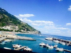 Quaint sea shore and port at Positano